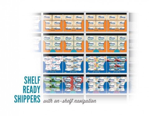 Echo Design created shelf ready shipper navigation system for Kleenex